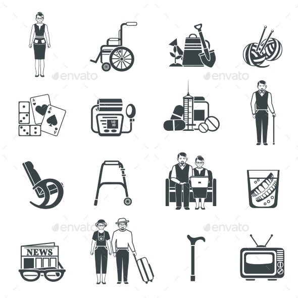 Pensioners Life Black White Icons Set  - People Characters