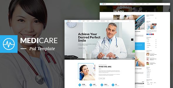 MediCare – Dentist, Medical One Page PSD Template