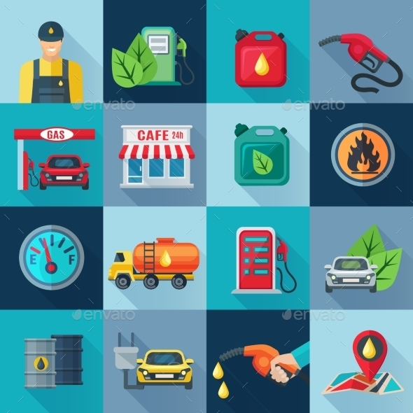 Gas Station Square Icons Set  - Business Icons