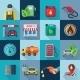 Gas Station Square Icons Set