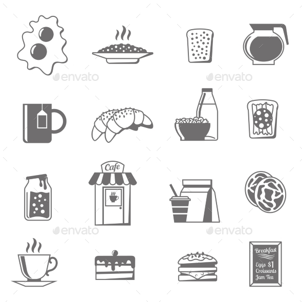 Breakfast Black White Icons Set  - Food Objects