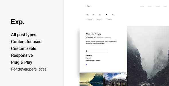 Exp – Minimal Portfolio, Grid-based Tumblr Theme