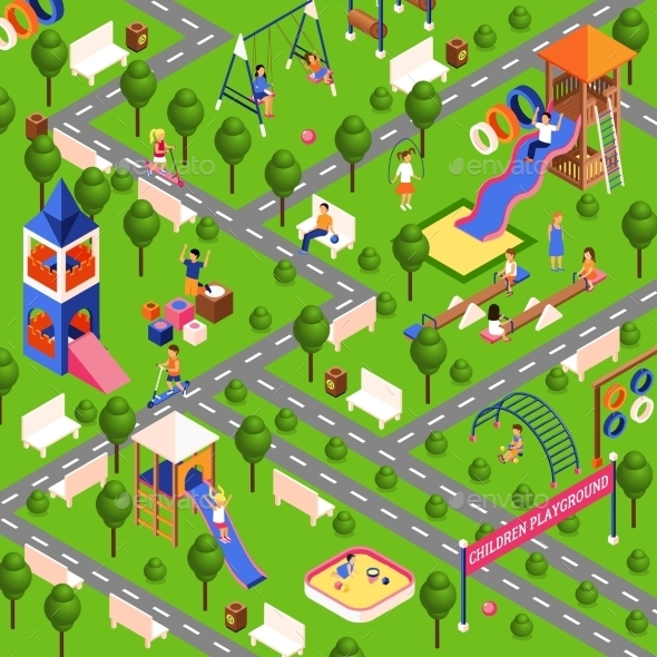 Isometric Playground Illustration - Decorative Symbols Decorative