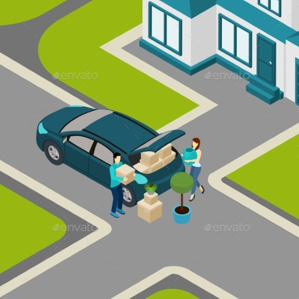 People Moving from House Isometric Banner  - Miscellaneous Conceptual