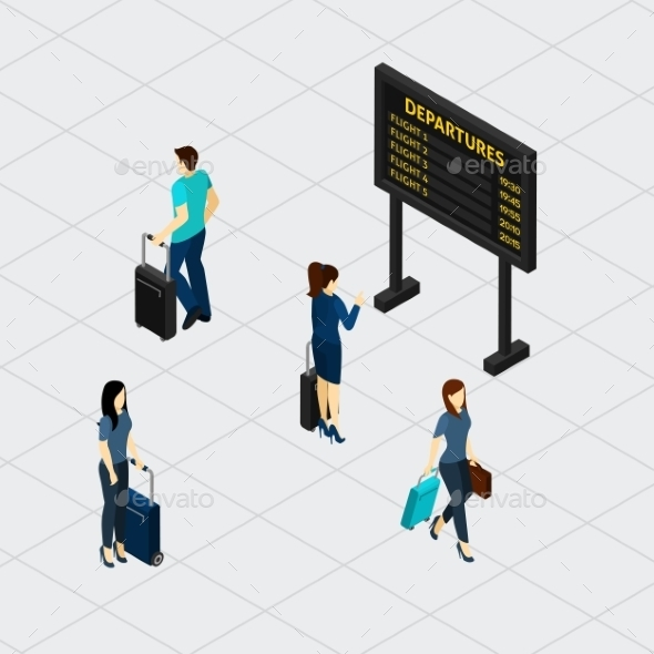Airport Hall Passengers Isometric Banner  - Travel Conceptual