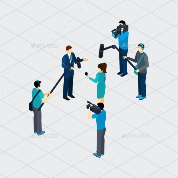 Journalist Profession Teamwork Isometric Banner  - Communications Technology