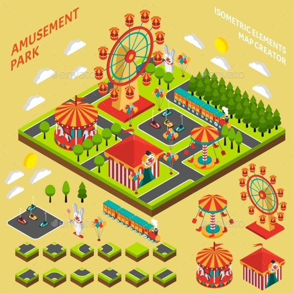 Amusement Park Isometric Map Creator Composition  - Miscellaneous Conceptual