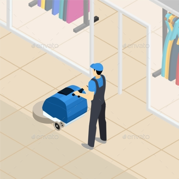 Professional Cleaner at Work Isometric Banner - Backgrounds Business