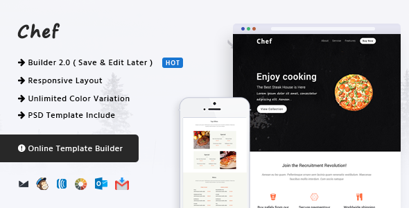 Chef - Responsive Email Template + Online Builder - Email Templates Marketing