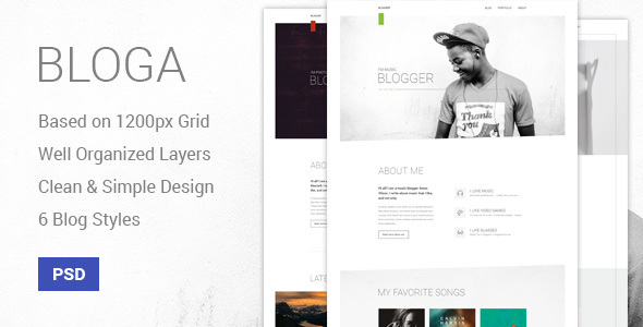 Bloga - Modern Creative Multipurpose Blog Template - Personal PSD Templates