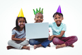 Smiling kids enjoying a party on white screen - PhotoDune Item for Sale