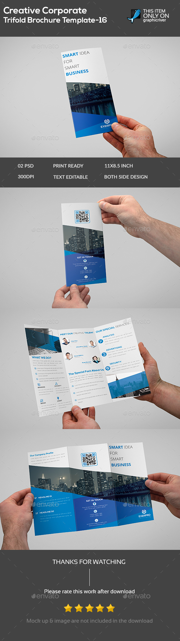 Creative Corporate Trifold Brochure Template -16 - Flyers Print Templates