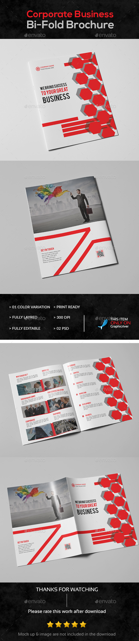 Corporate Business Bi-Fold Brochure - Brochures Print Templates