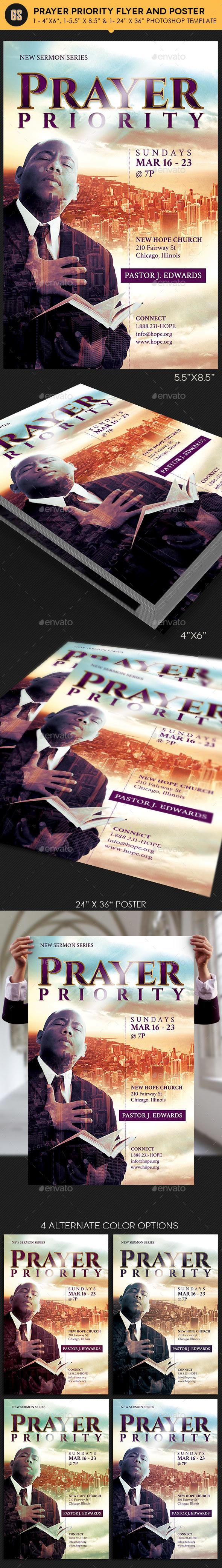 Prayer Priority Flyer Poster Template - Church Flyers