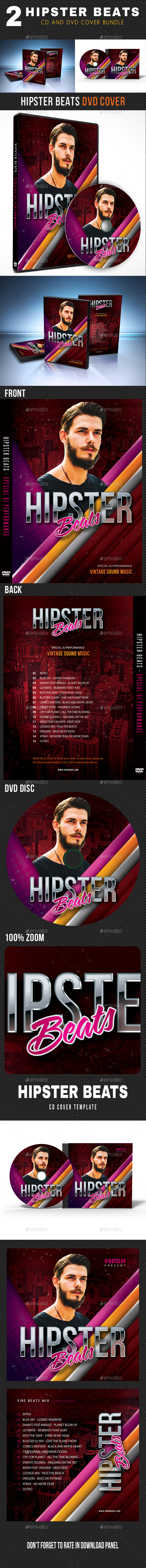 2 in 1 Hipster Beats Music CD - DVD Cover Bundle - CD & DVD Artwork Print Templates