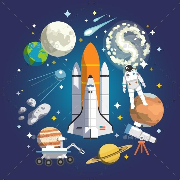 Astronomy Flat Illustration - Travel Conceptual