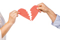 Couple holding broken heart on white background - PhotoDune Item for Sale