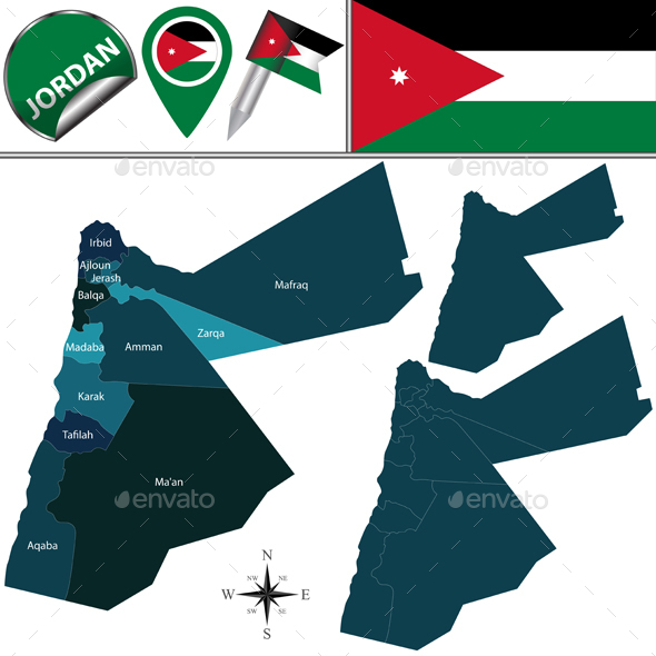Map of Jordan - Travel Conceptual