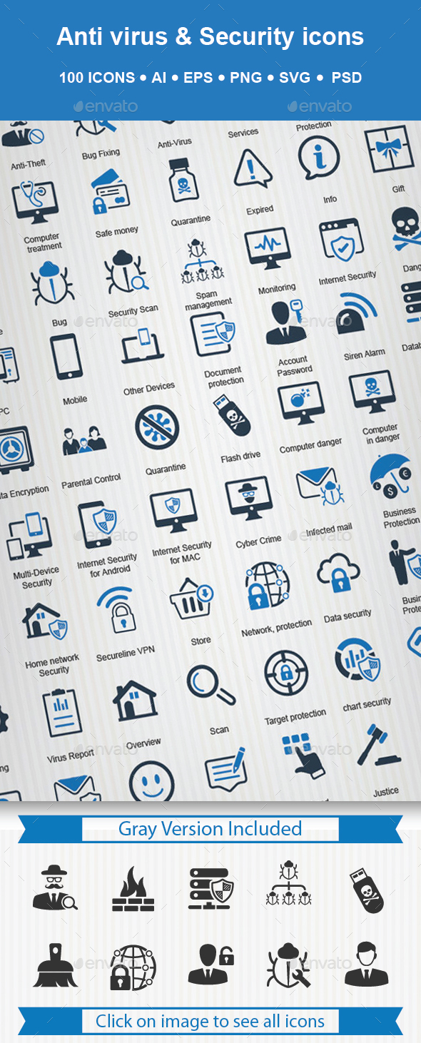 Anti Virus & Security Icon - Technology Icons