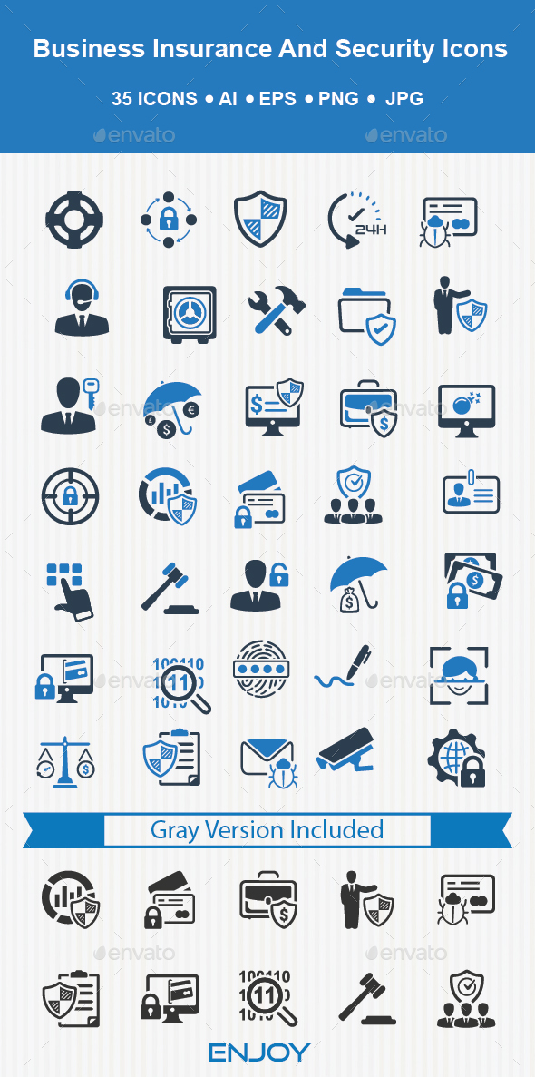 Business Insurance and Security Icons - Business Icons