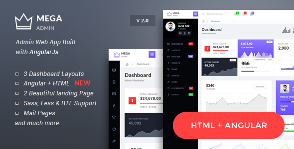 Mega - Bootstrap Admin Web App with AngularJs Powered