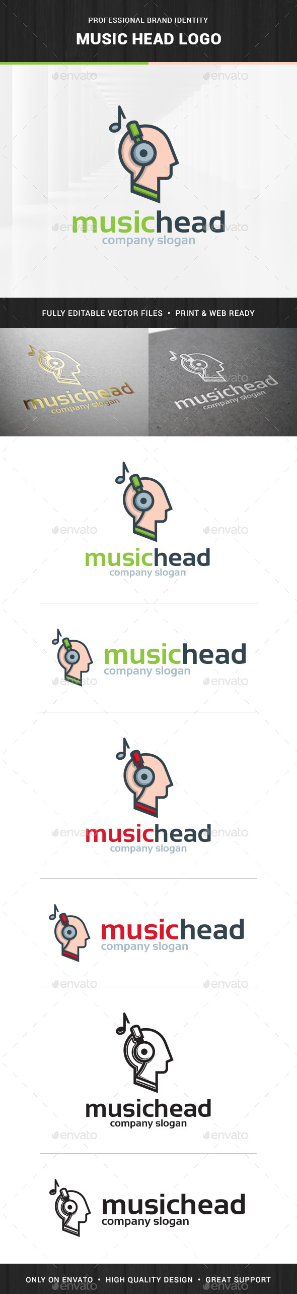 Music Head Logo Template - Humans Logo Templates