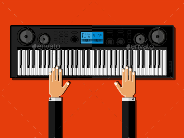 Hands Playing the Synthesizer - Miscellaneous Vectors