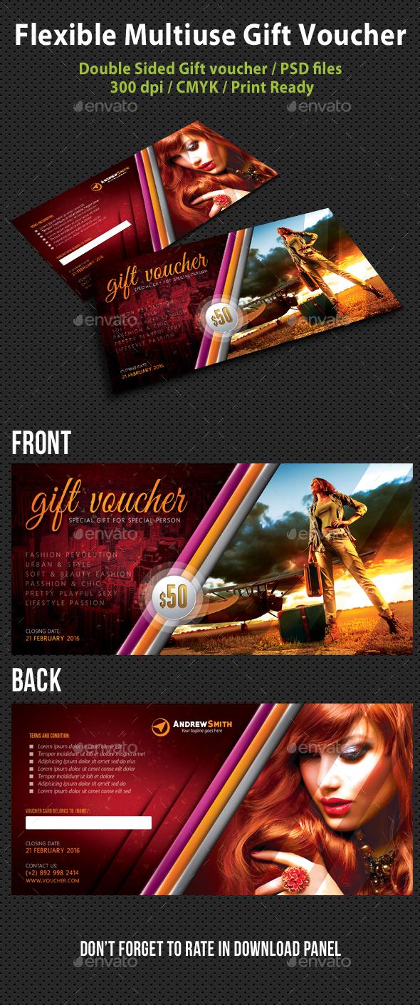 Flexible Multiuse Gift Voucher V06 - Cards & Invites Print Templates