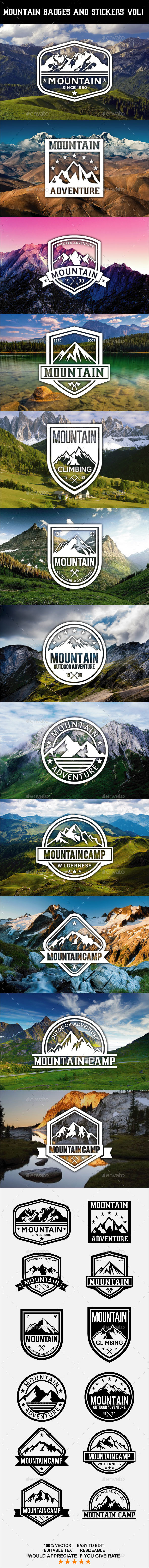 Mountain Badges and Stickers Vol 1  - Badges & Stickers Web Elements