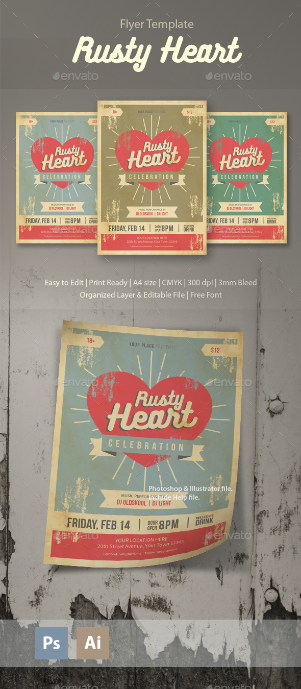 Rusty Heart Flyer Template - Clubs & Parties Events