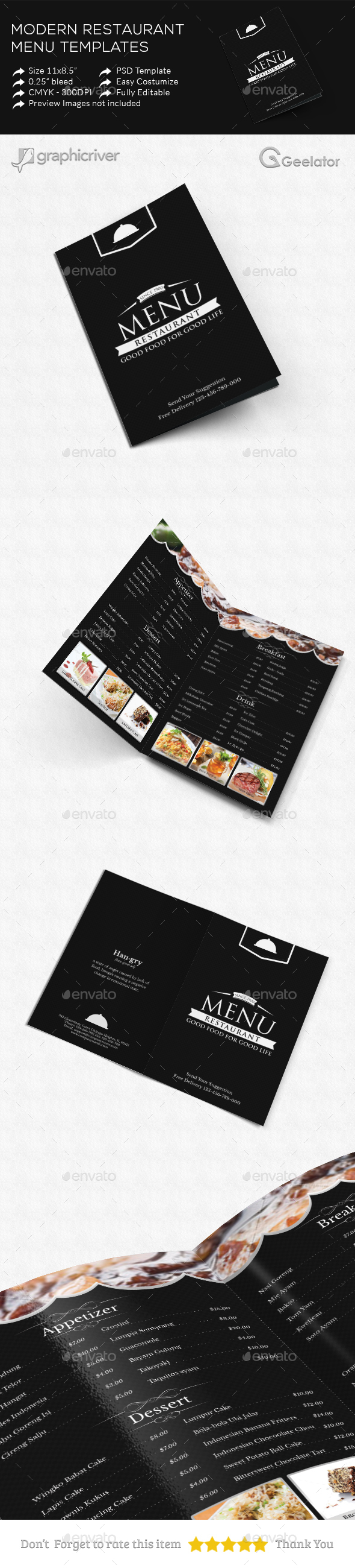 Modern Restaurant Menu Template - Food Menus Print Templates