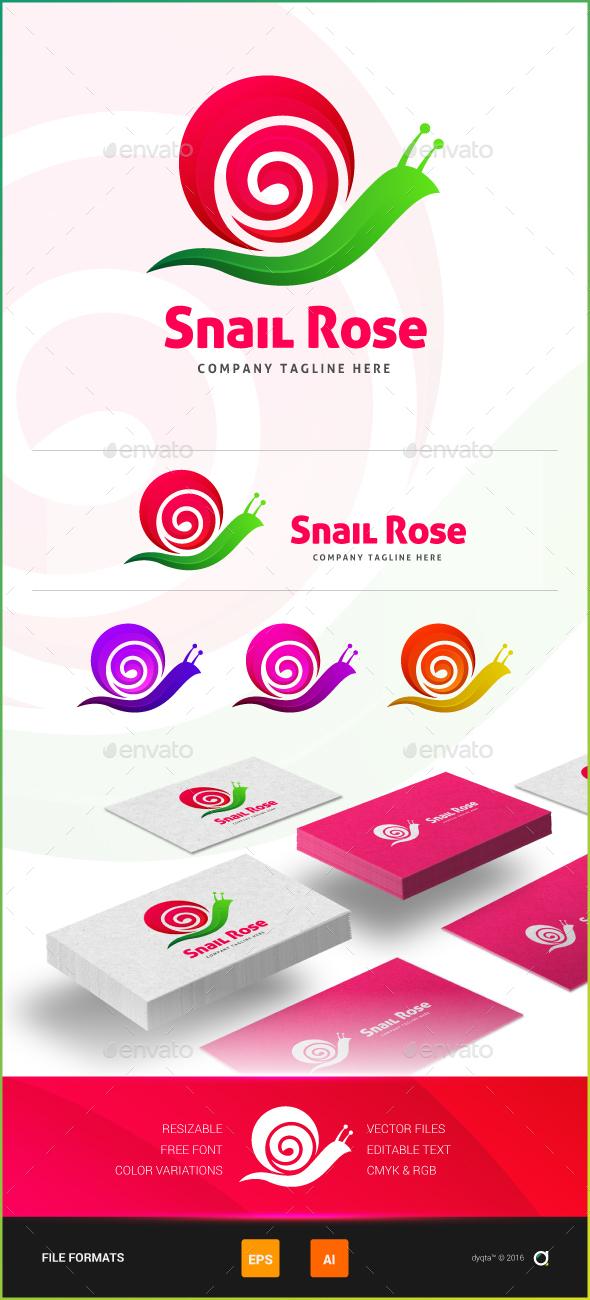 Snail Rose Logo Template - Animals Logo Templates
