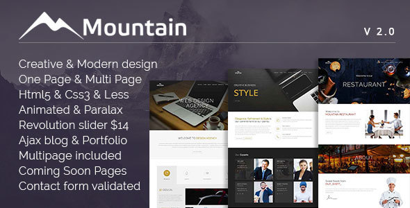 Mountain - Creative OnePage & MultiPage Template - Creative Site Templates