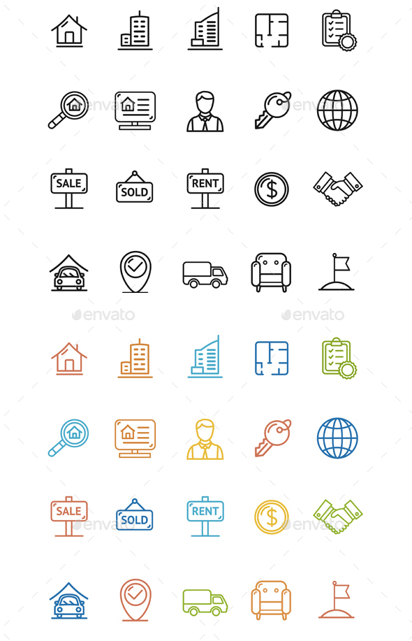 Real Estate Outline Icon Set - Web Technology