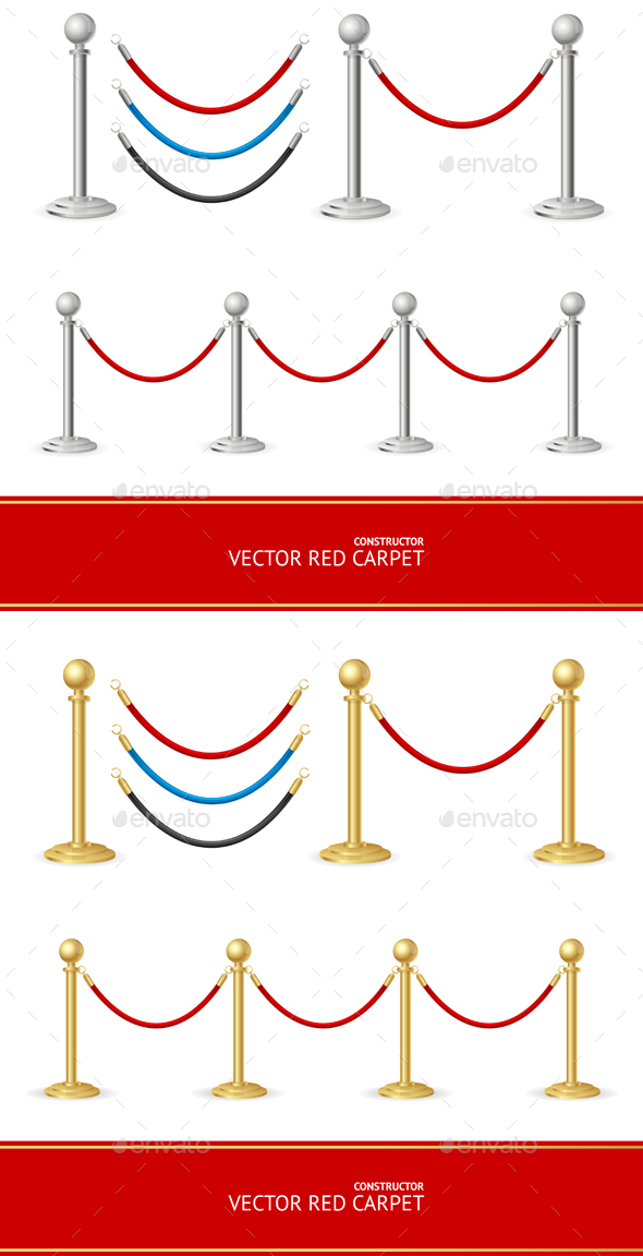 Red Carpet Gold Barrier Constructor - Man-made Objects Objects