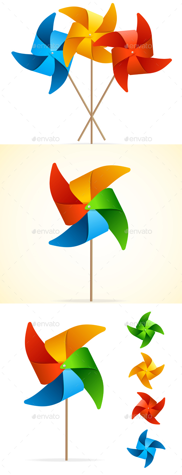 Colorful Windmill Set - Man-made Objects Objects