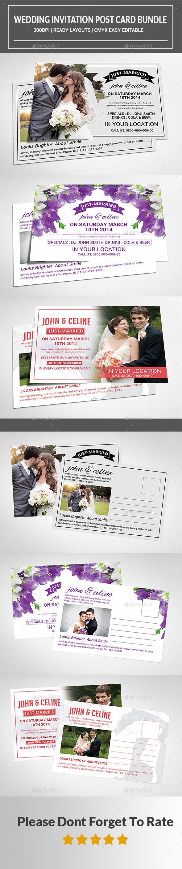 Wedding Invitation Post Card Bundle  - Cards & Invites Print Templates