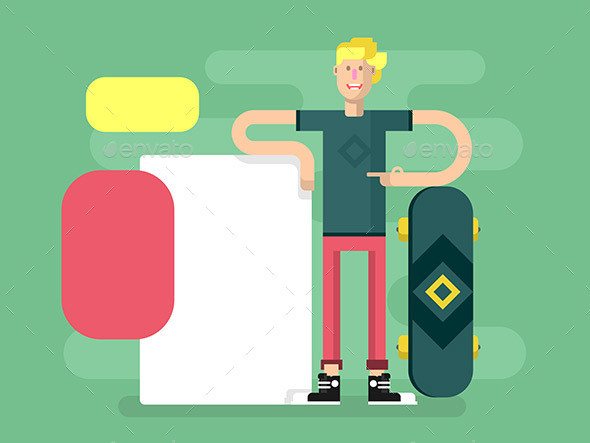 Skateboarder with Advertising - People Characters