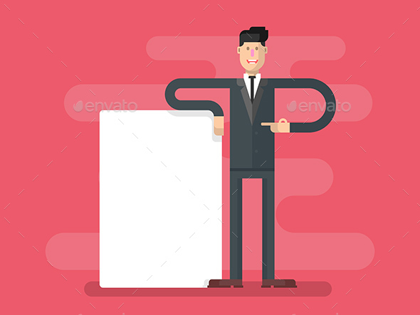 Businessman with Advertising - People Characters