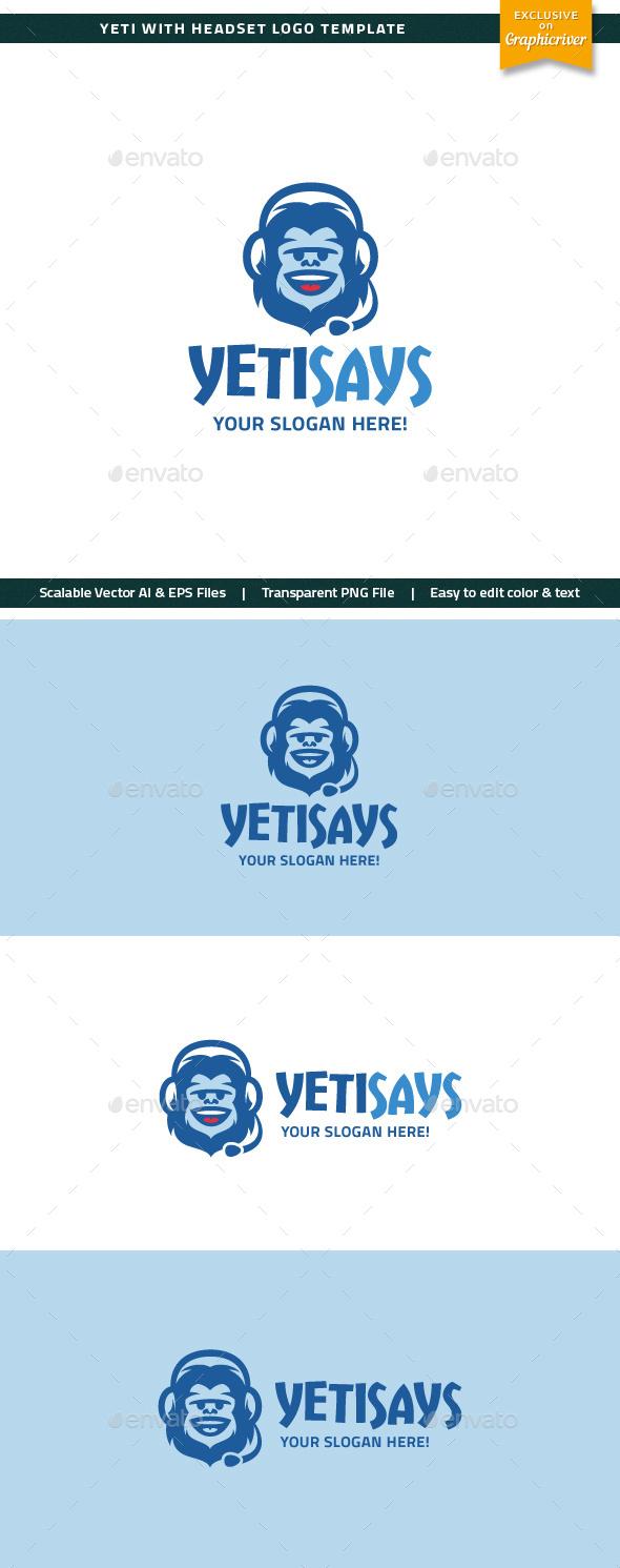 Yeti With Headset Logo - Animals Logo Templates