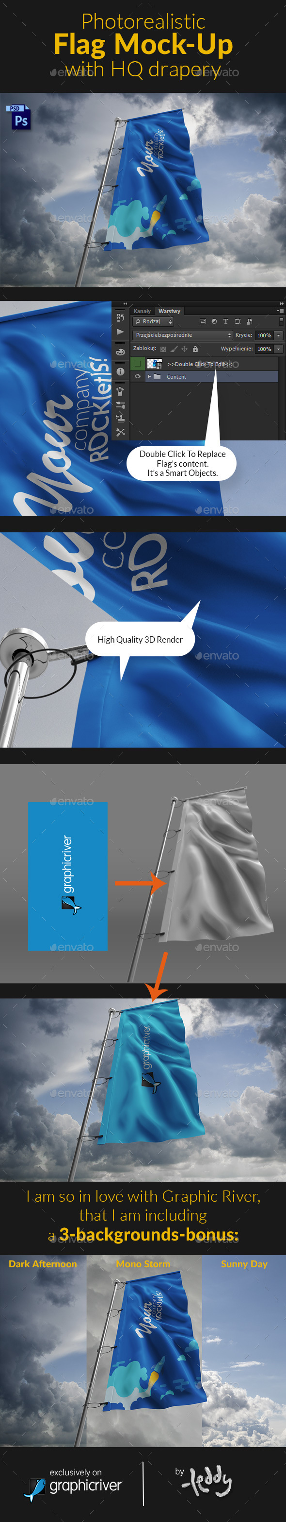 Photorealistic Flag Mock-Up with HQ drapery - Product Mock-Ups Graphics