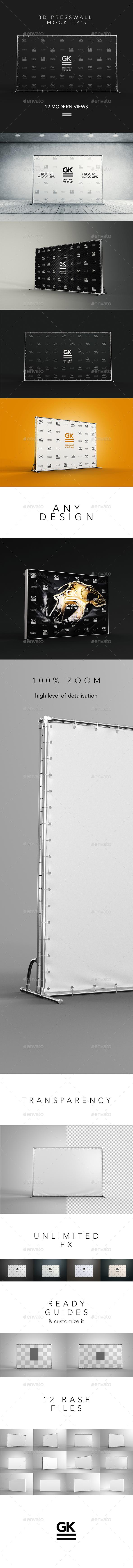 3D Press Wall / Banner Mock Up - Logo Product Mock-Ups