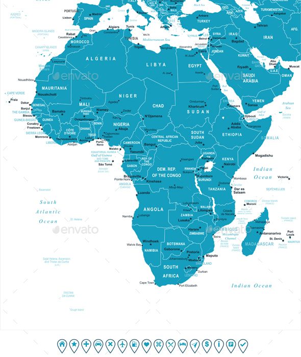 Africa Map and Navigation Labels - Travel Conceptual