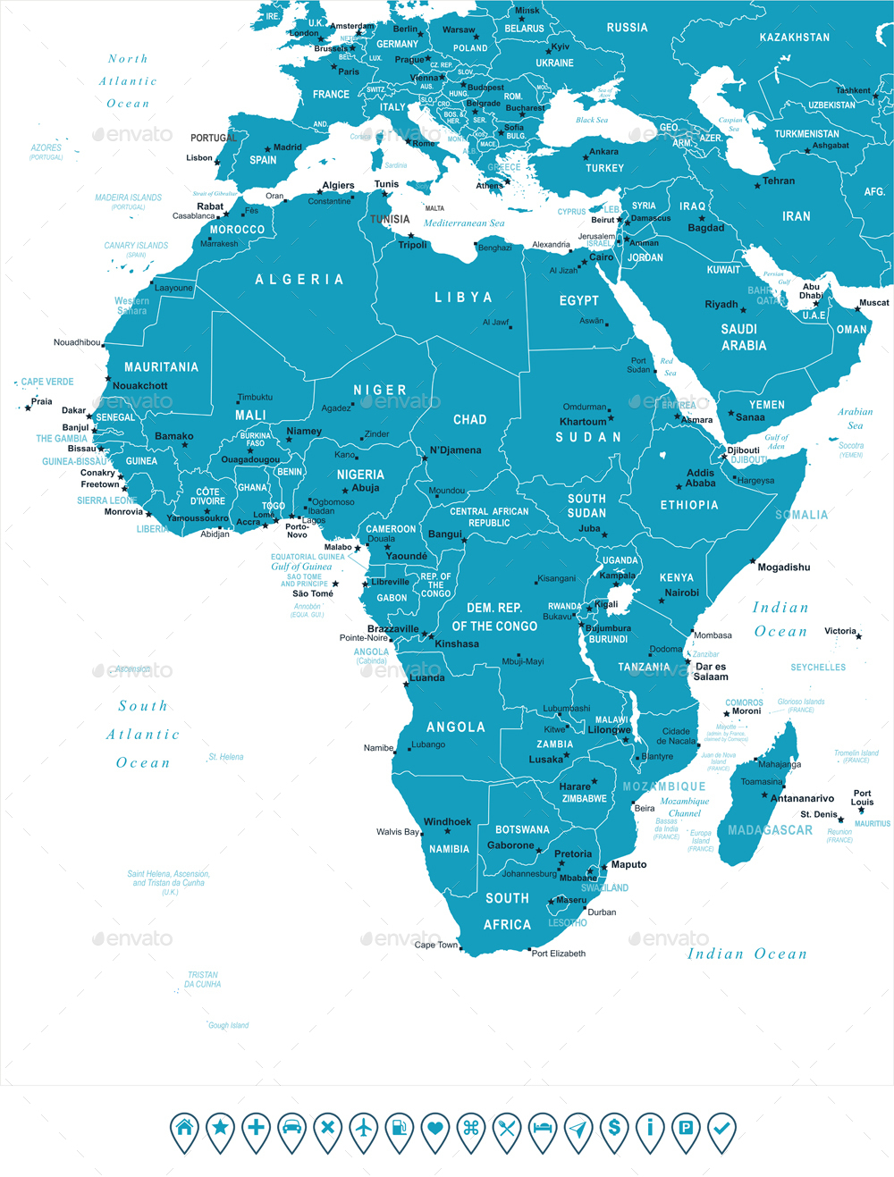 map of africa with labels Africa Map And Navigation Labels By Dikobrazik Graphicriver map of africa with labels