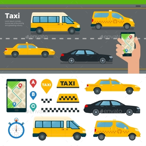 App for Booking Taxi - Travel Conceptual