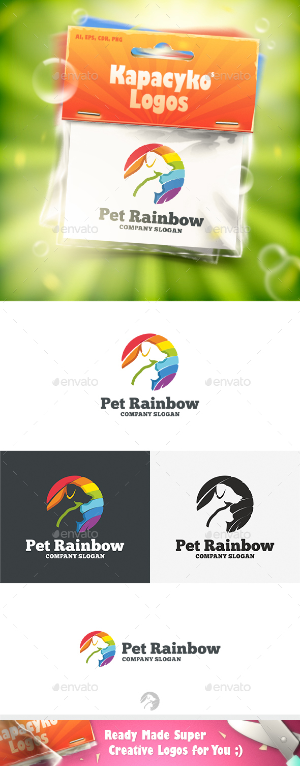 Pet Rainbow Logo - Animals Logo Templates