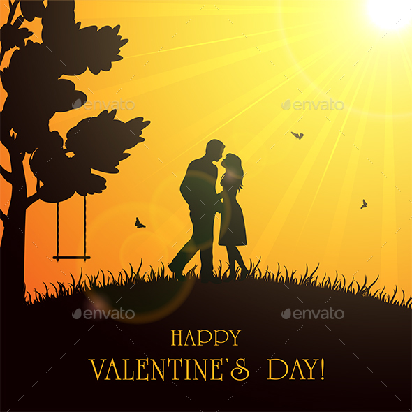 Valentines Background with Couple - Valentines Seasons/Holidays