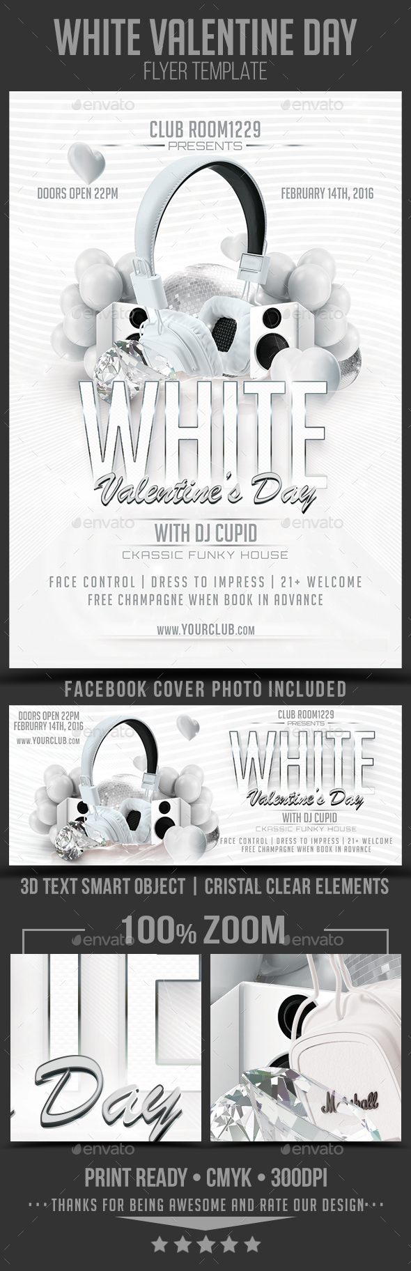 White Valentine Day Flyer Template - Clubs & Parties Events
