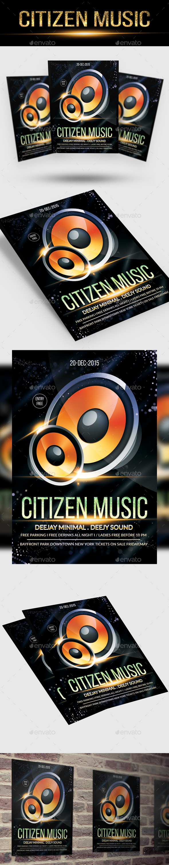 Citizen Music Flyer PSD Template - Events Flyers