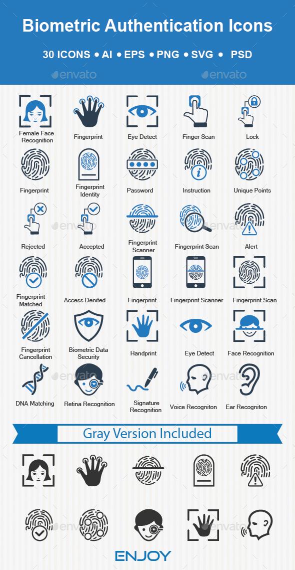 Biometrics Authentication Icons - Technology Icons